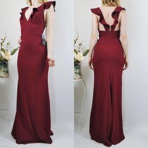 Perfect Opportunity Burgundy Maxi Lulus Dress NWT